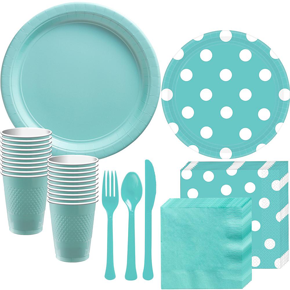 Robin's Egg Blue Polka Dot Tableware Kit for 16 Guests Image #1