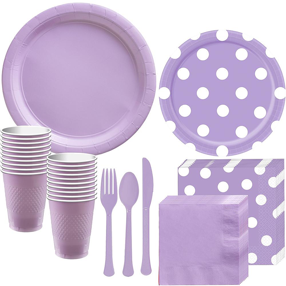 Lavender Polka Dot Tableware Kit for 16 Guests Image #1