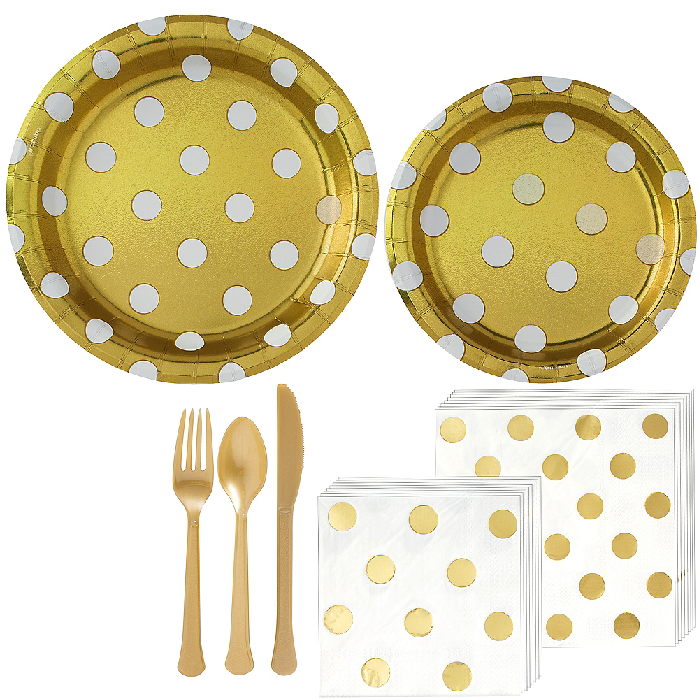 Metallic Gold Polka Dot Tableware Kit for 16 Guests Image #1