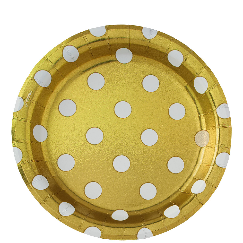 Metallic Gold Polka Dot Tableware Kit for 16 Guests Image #3