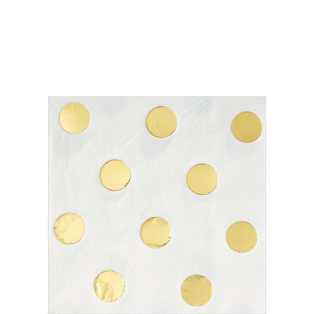 Metallic Gold Polka Dot Tableware Kit for 16 Guests Image #4