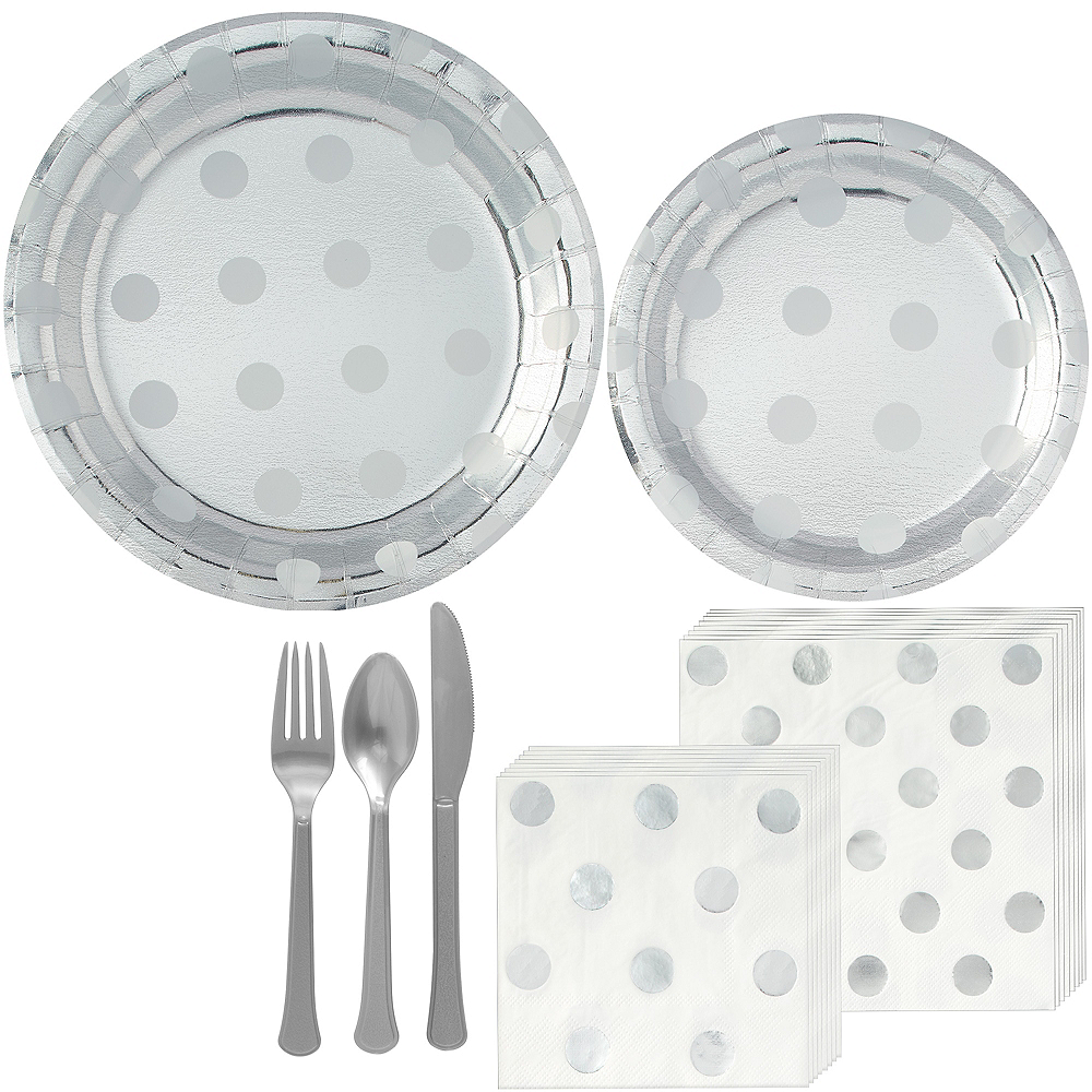 Metallic Silver Polka Dot Tableware Kit for 16 Guests Image #1