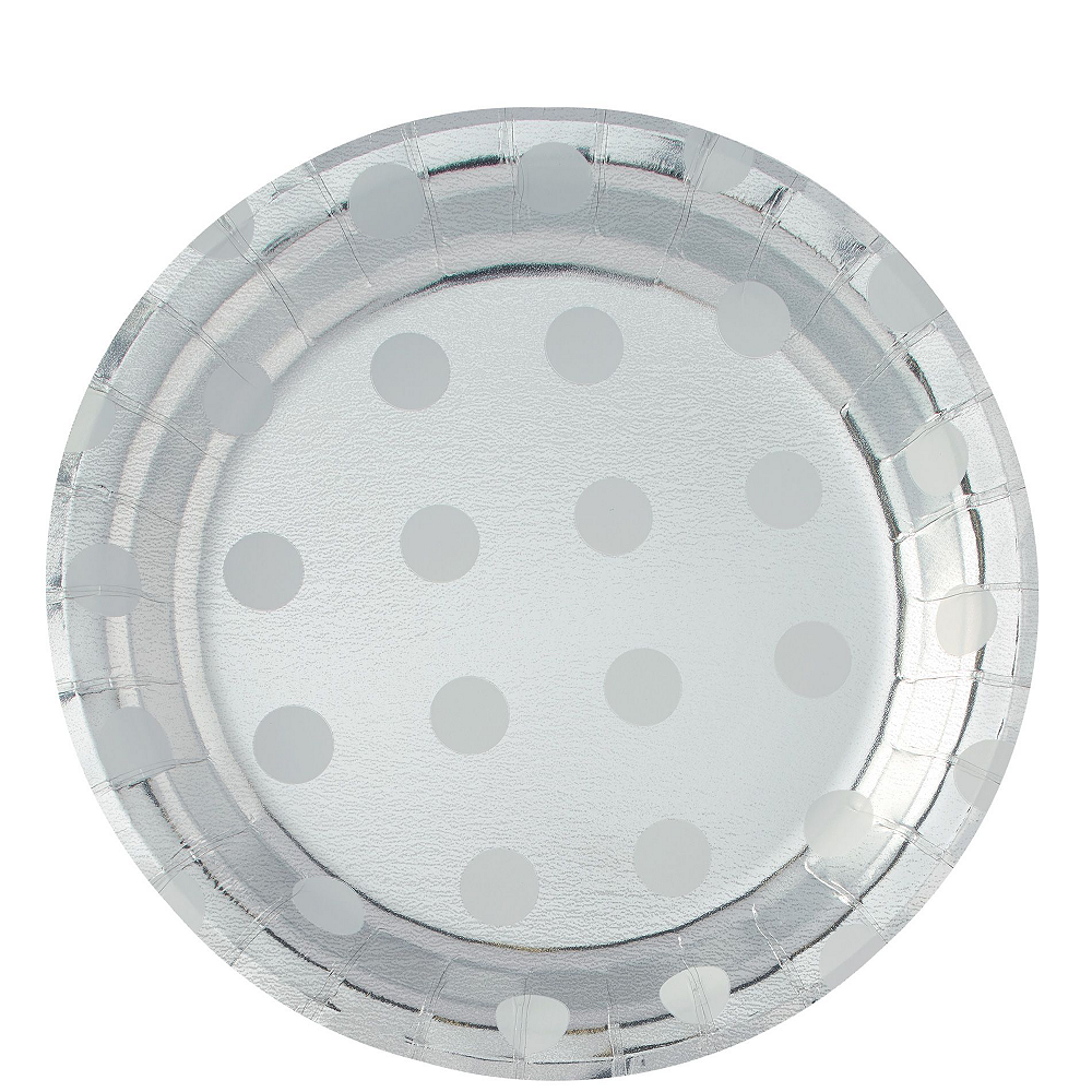 Metallic Silver Polka Dot Tableware Kit for 16 Guests Image #3