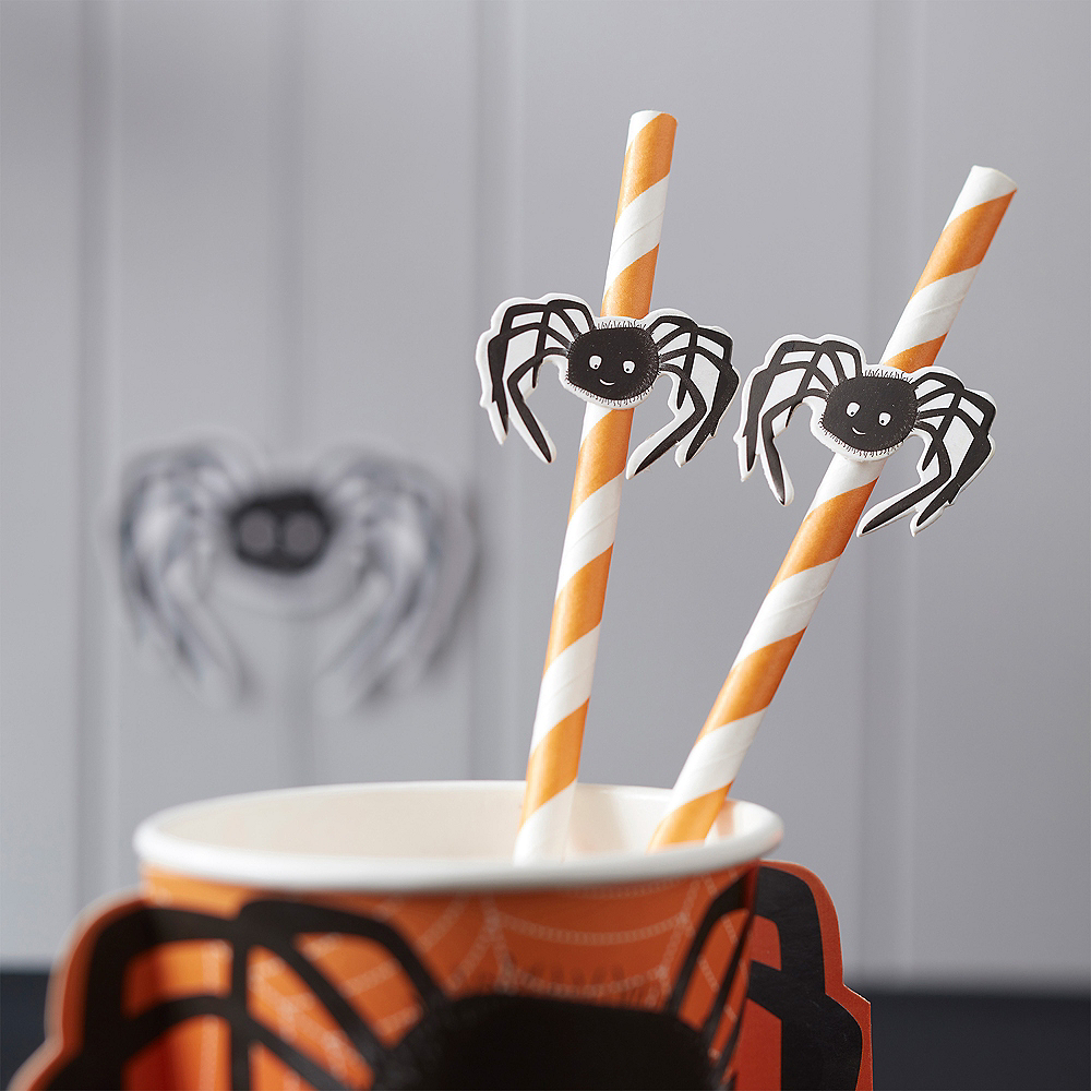Ginger Ray Spooky Spider Paper Straws 10ct Image #1