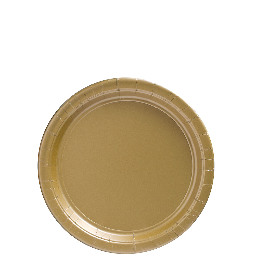 Gold Paper Dessert Plates 80ct Image #1