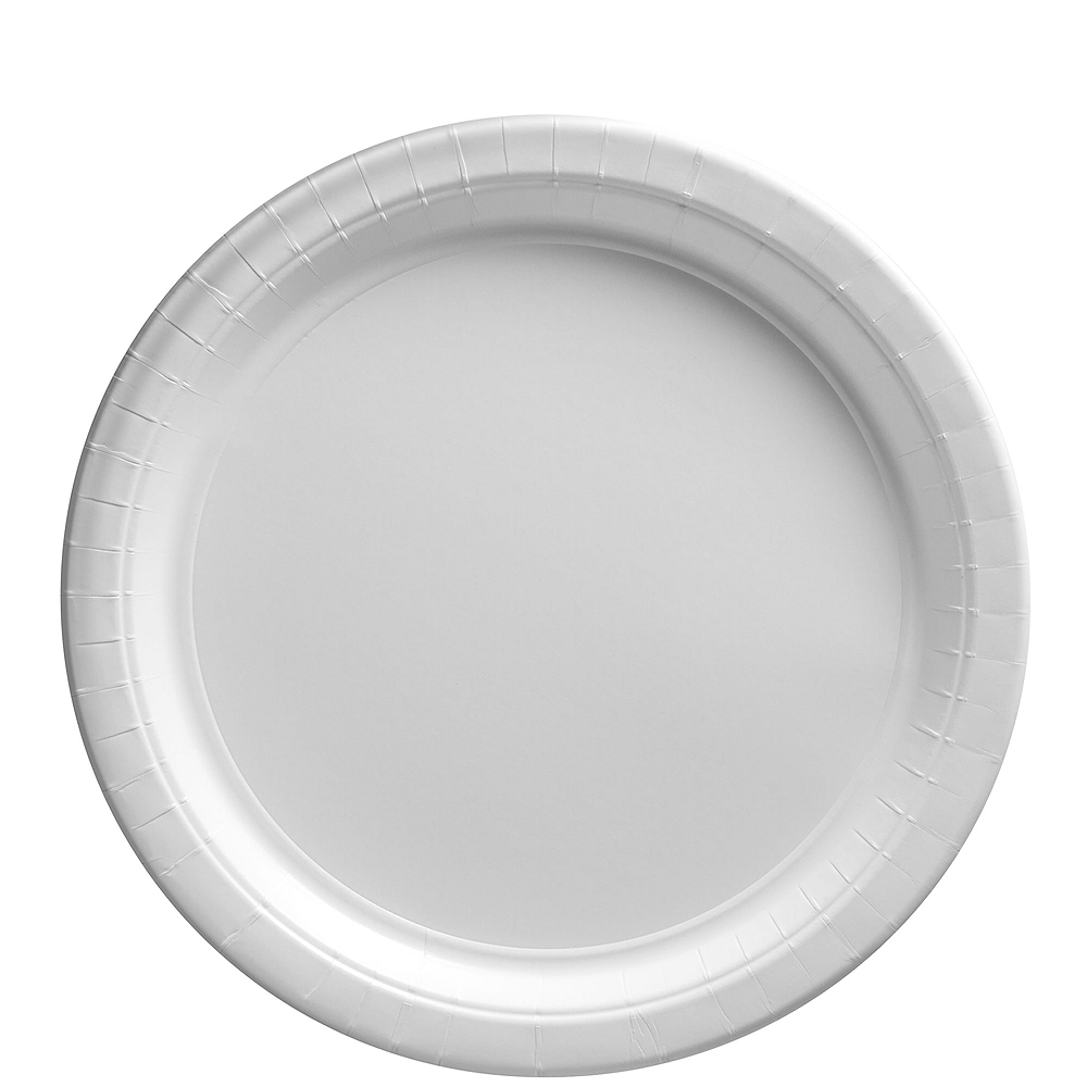 White Paper Lunch Plates 80ct Image #1