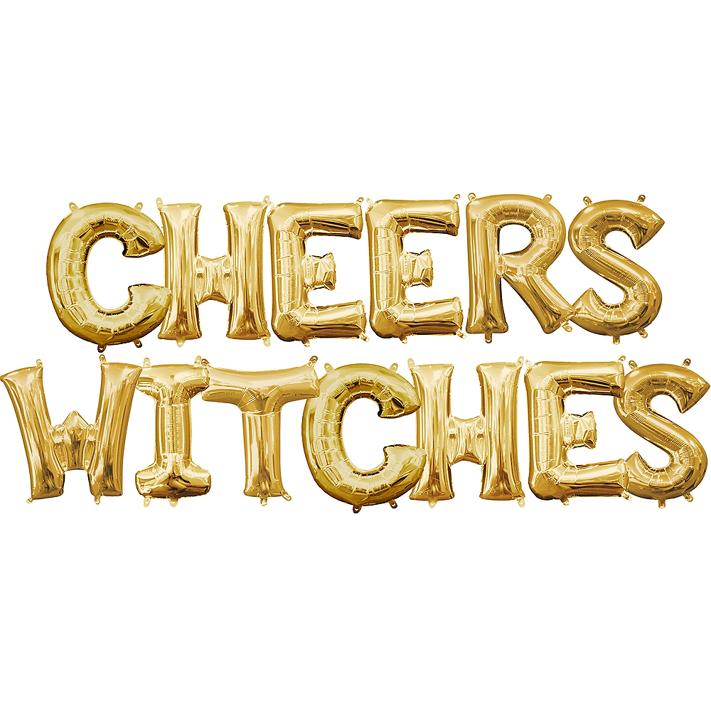 Air-Filled Gold Cheers Witches Balloon Kit Image #1