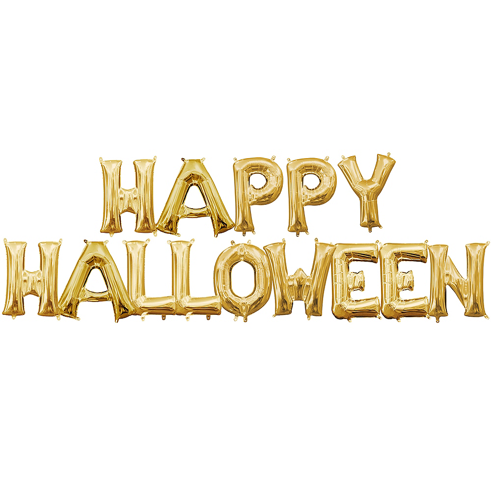 Air-Filled Gold Happy Halloween Balloon Kit Image #1