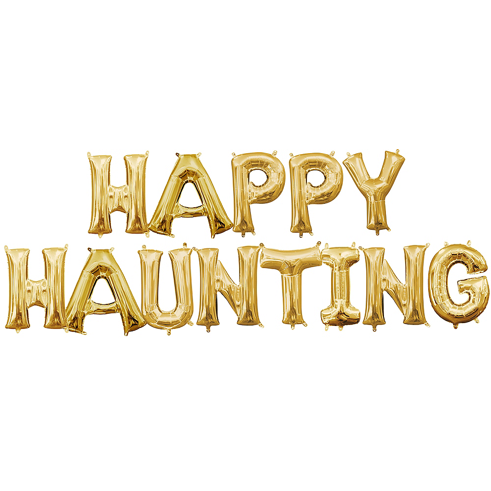 Air-Filled Gold Happy Haunting Balloon Kit Image #1