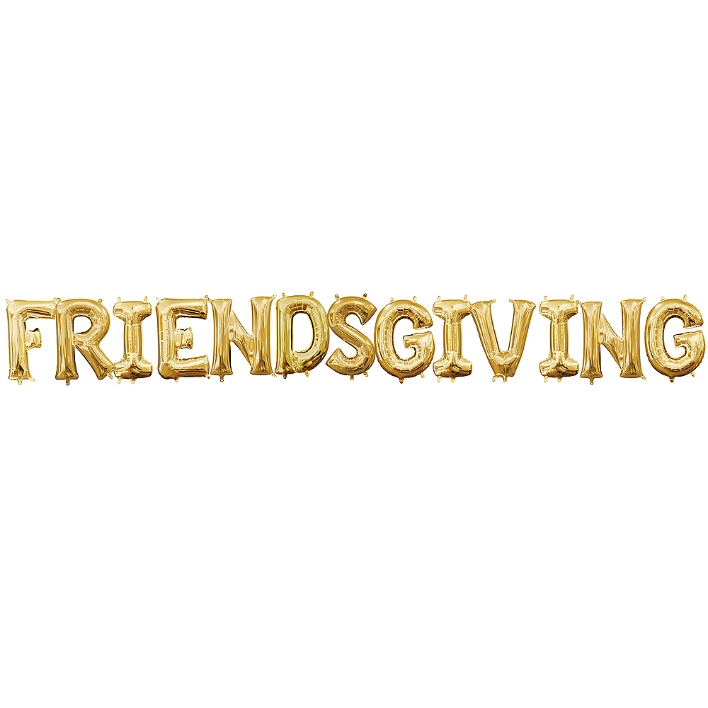 Air-Filled Gold Friendsgiving Balloon Kit Image #1