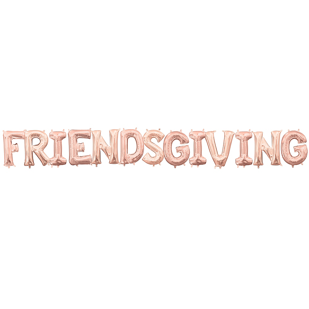 Air-Filled Rose Gold Friendsgiving Balloon Kit Image #1