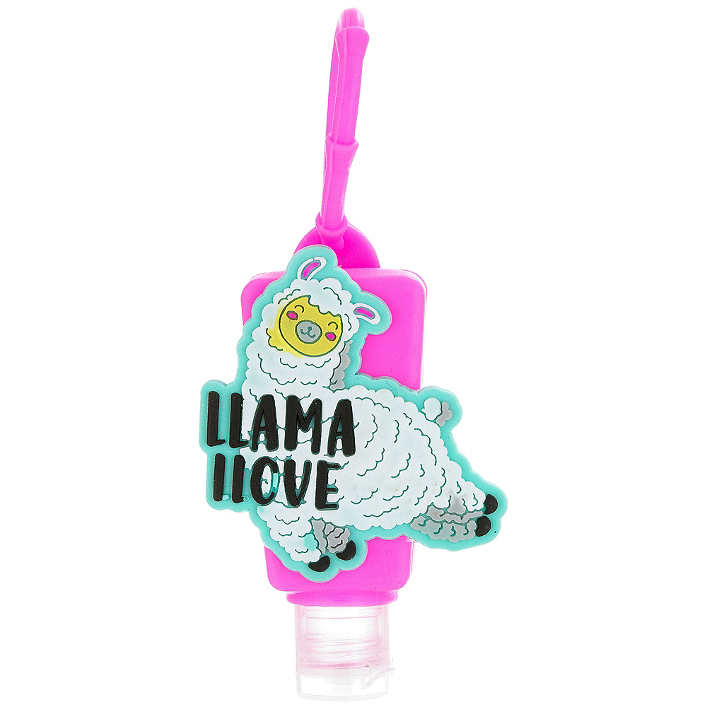 Neon Llama Hand Sanitizer with Holder Image #1
