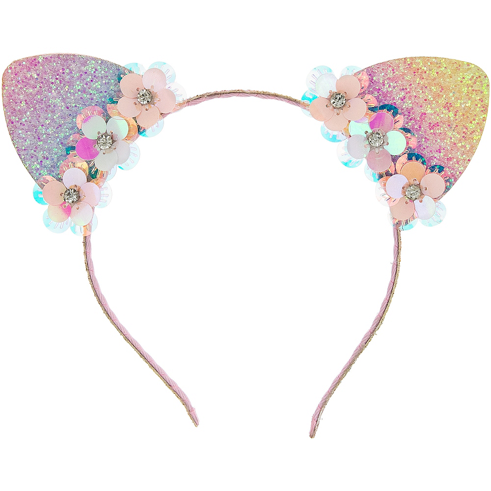 Child Glitter Multicolor Rainbow Cat Headband Image #1