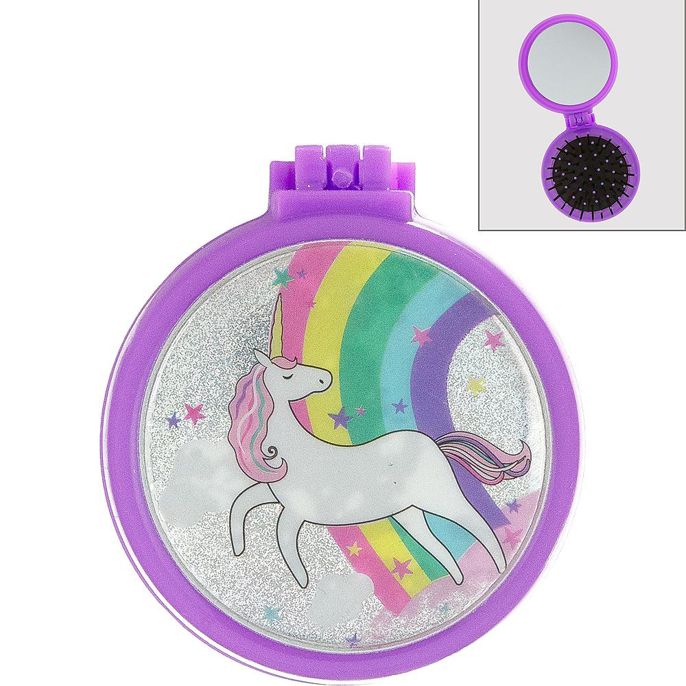 Iridescent Unicorn Pop-Up Hair Brush & Mirror Image #1