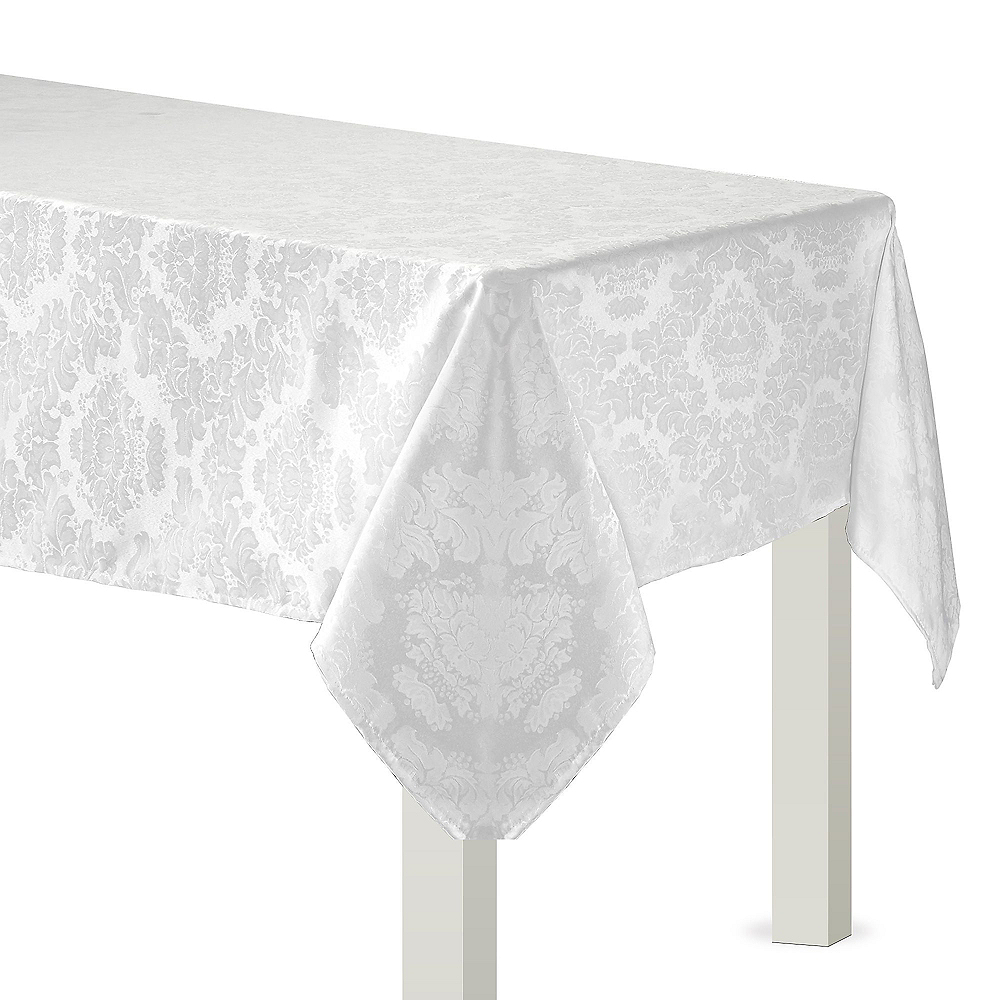 White Damask Fabric Tablecloth, 60in x 84in Image #1