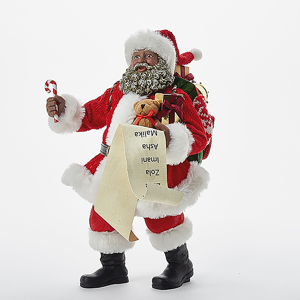 Kurt Adler Fabriche Black Santa with List & Candy Cane Image #1