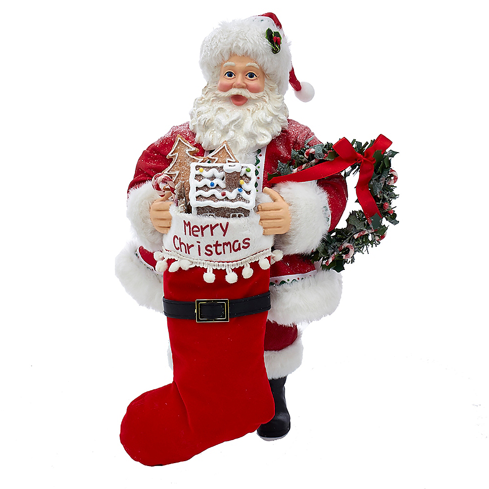 Kurt Adler Fabriche™ Gingerbread Santa with Stocking & Wreath Image #1