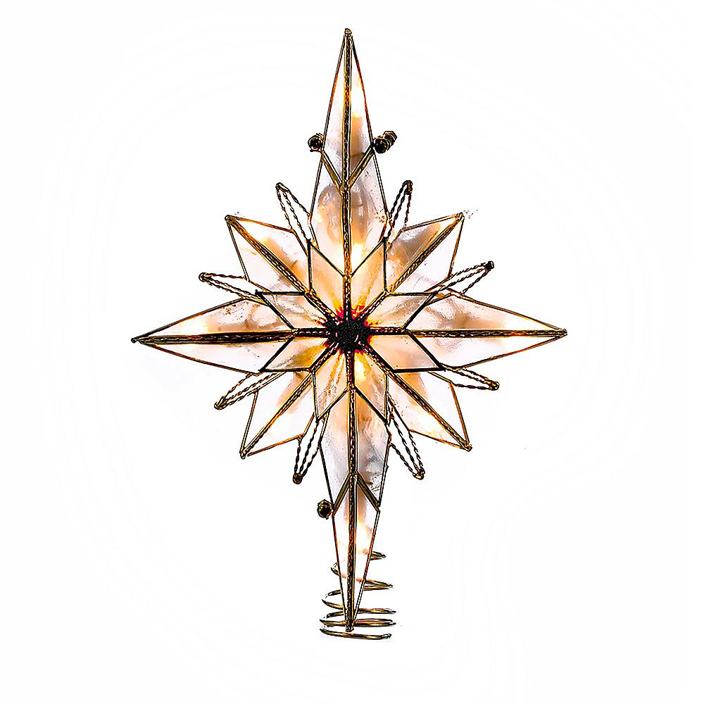 Kurt Adler Light-Up Bethlehem Star Glass Tree Topper Image #1