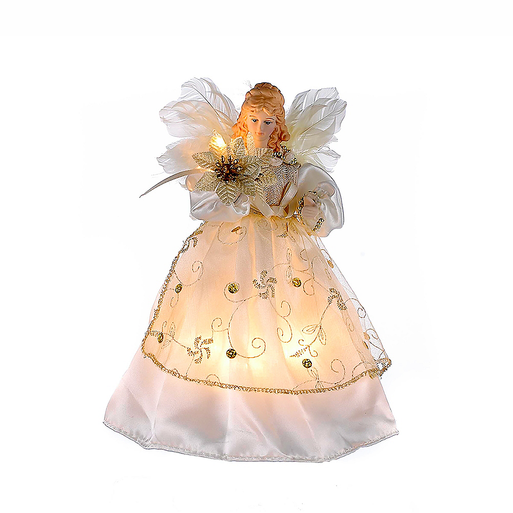 Kurt Adler Light-Up Small Ivory & Gold Angel Tree Topper Image #1