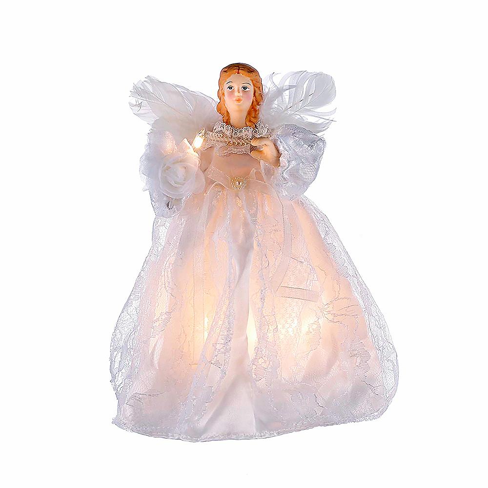 Kurt Adler Light-Up White Angel Tree Topper Image #1
