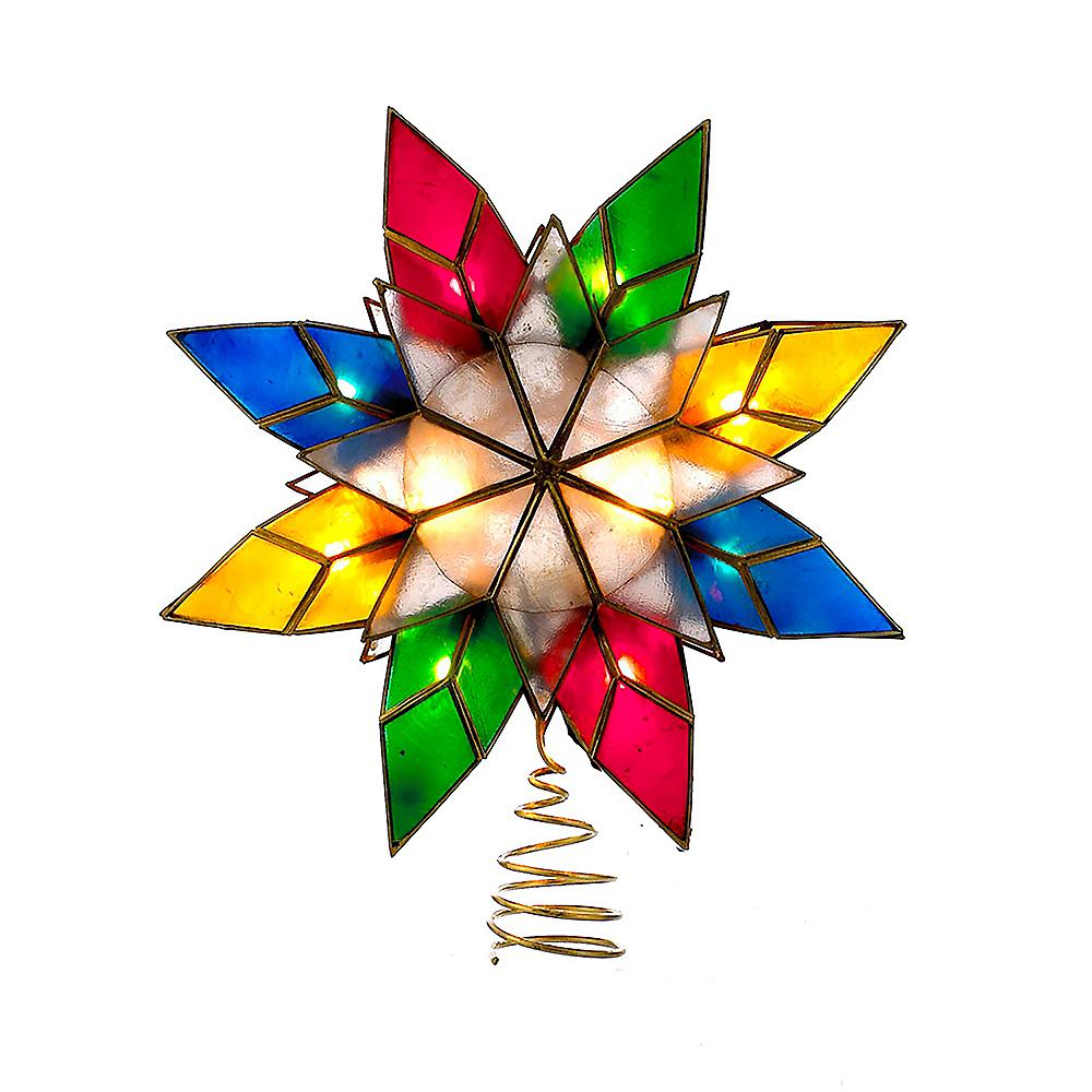 Kurt Adler Light-Up Multicolor Capiz Shell Star Tree Topper Image #1