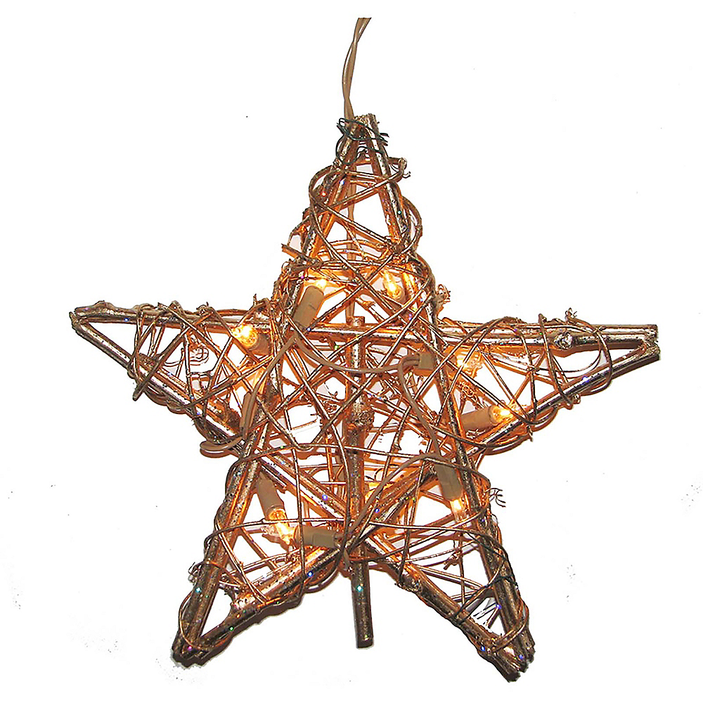Kurt Adler Light-Up Gold Star Rattan Tree Topper Image #1