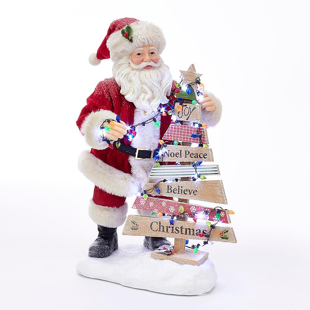 Kurt Adler Fabriche™ Santa with Light-Up Christmas Tree Image #1