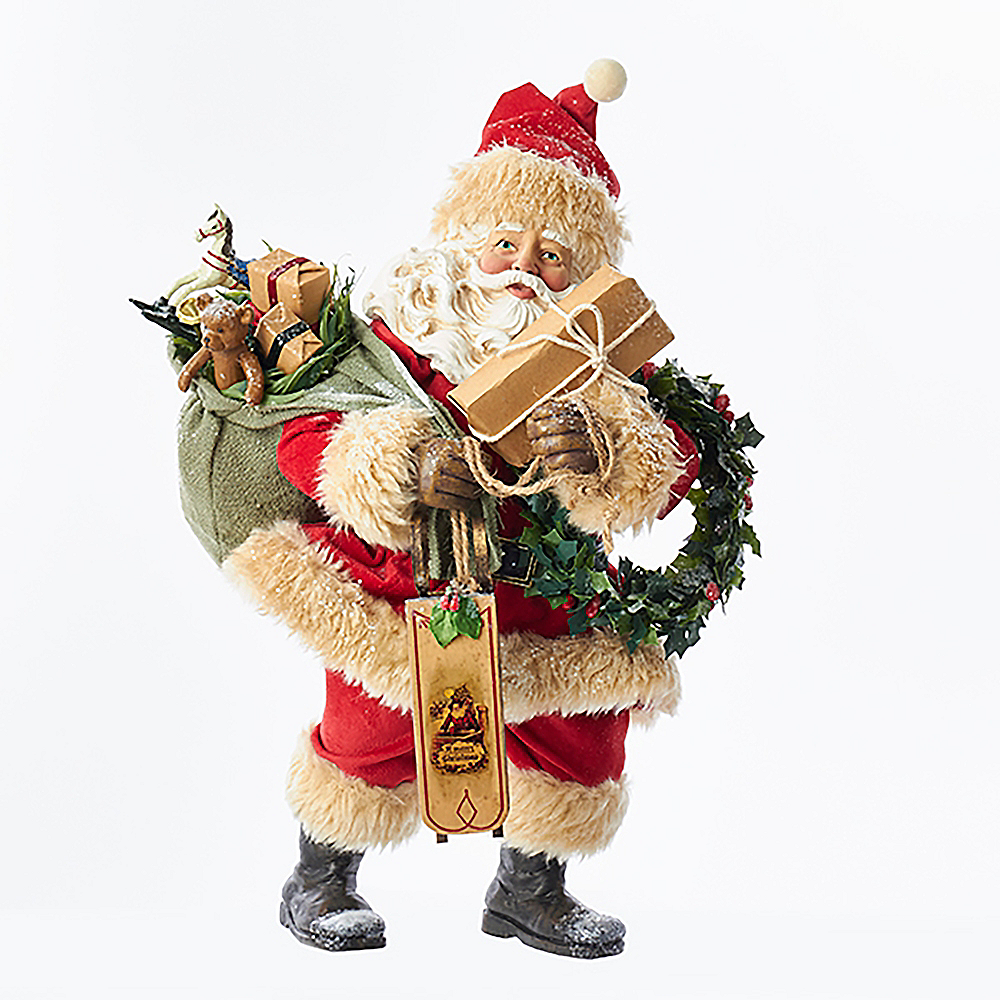 Kurt Adler Vintage Santa with Presents, Sled & Wreath Image #1