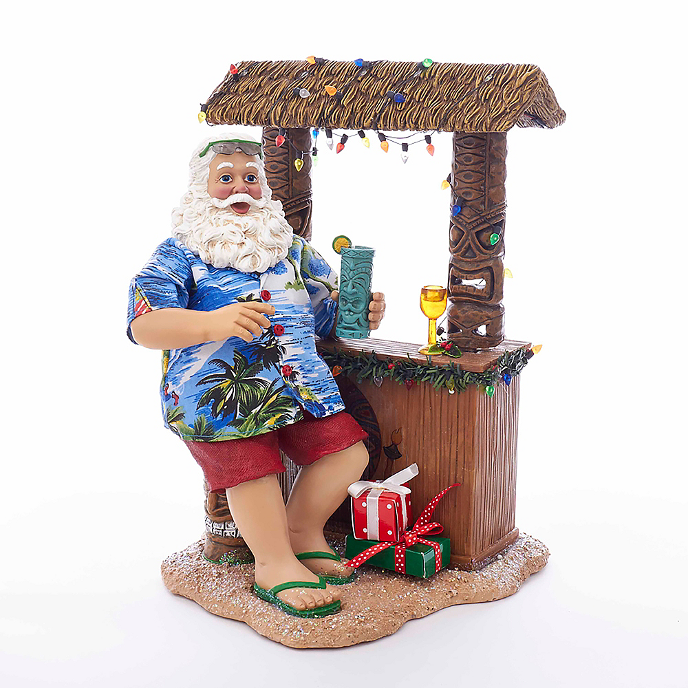 Kurt Adler Fabriche™ Beach Santa Sitting At Tiki Bar Image #1