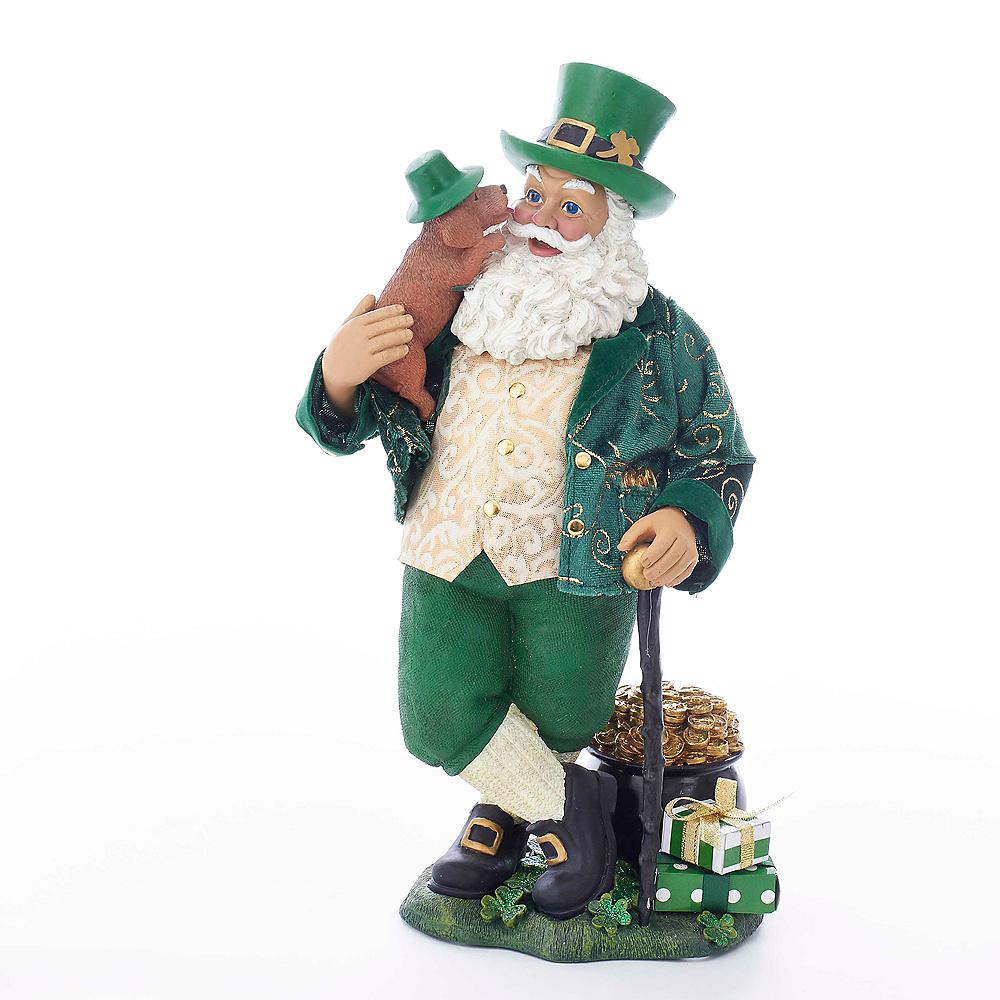 Kurt Adler Fabriche™ Musical Irish Santa with Dog and Walking Cane Image #1