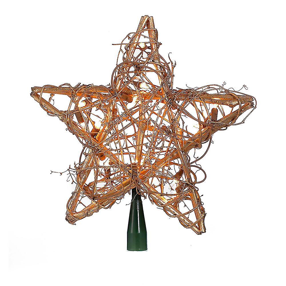 Kurt Adler Light-Up Large Gold Star Rattan Tree Topper Image #1