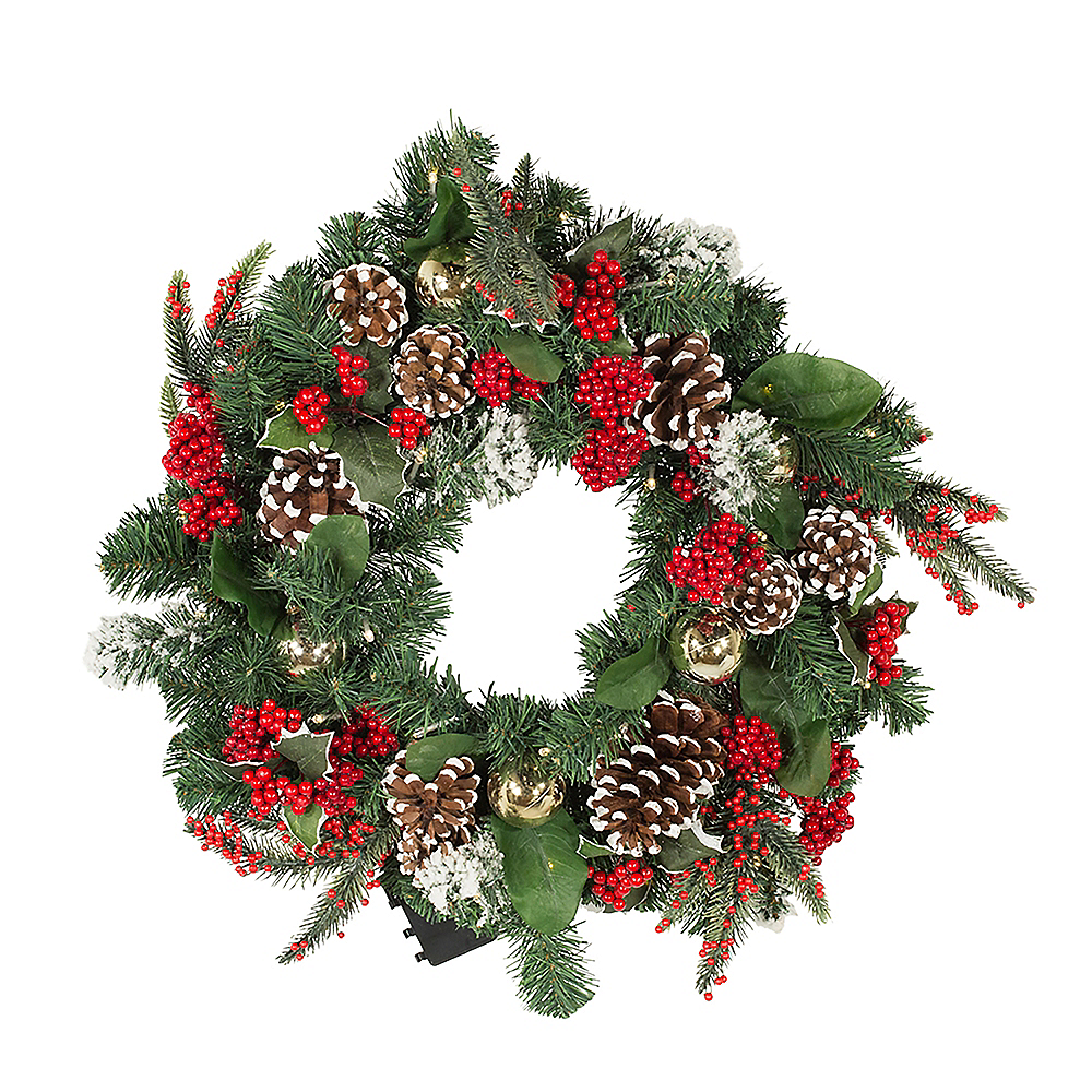 Kurt Adler Light-Up LED Holly & Pinecone Wreath Image #1