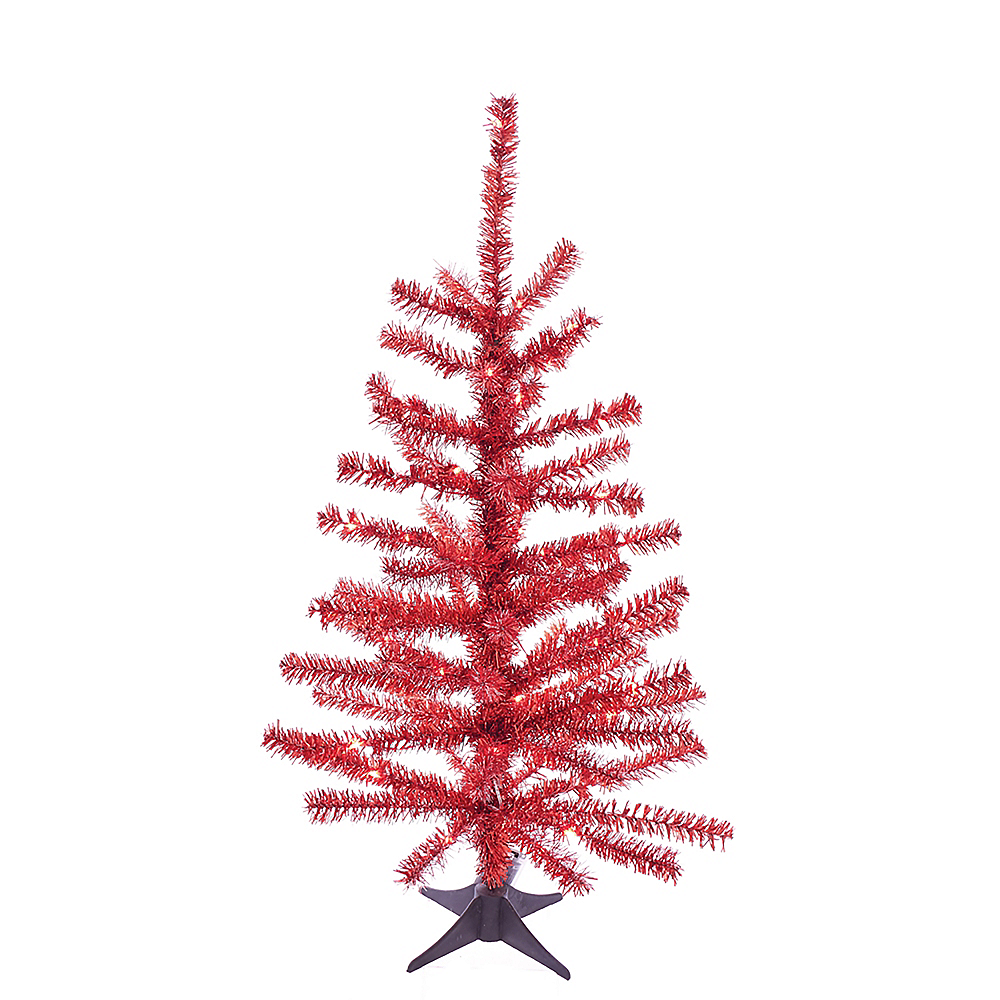 Nav Item for Kurt Adler Light-Up Red Tinsel Tree Image #1