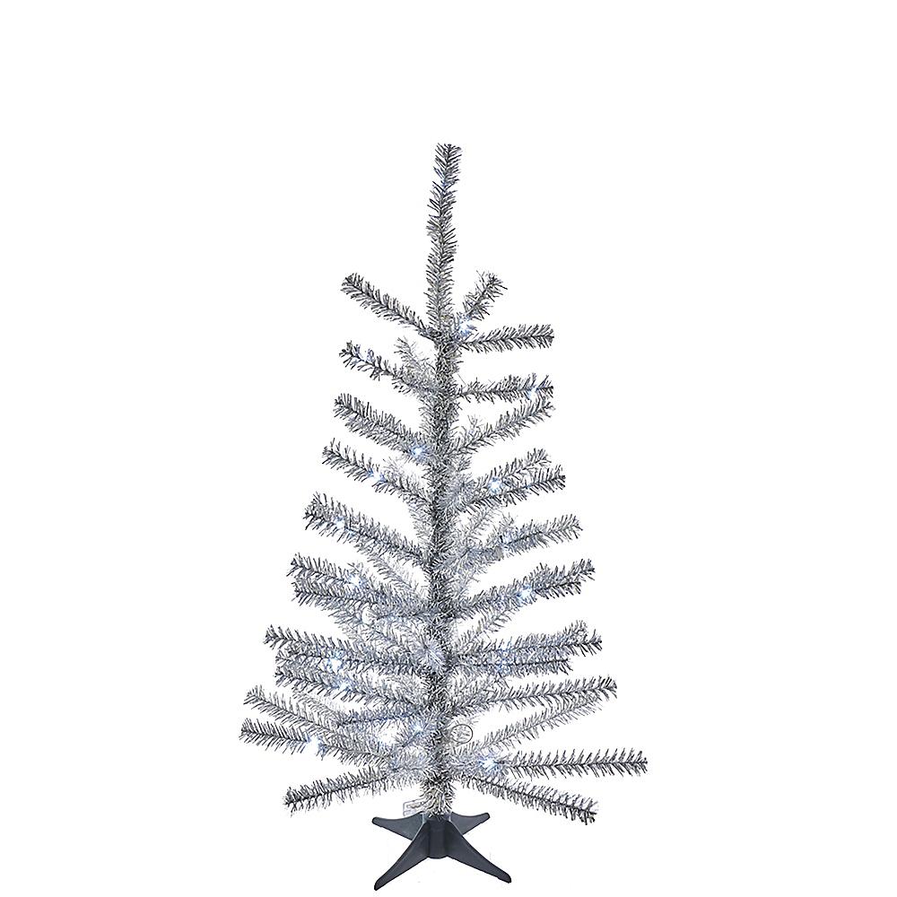 Kurt Adler Light-Up Silver Tinsel Tree Image #1