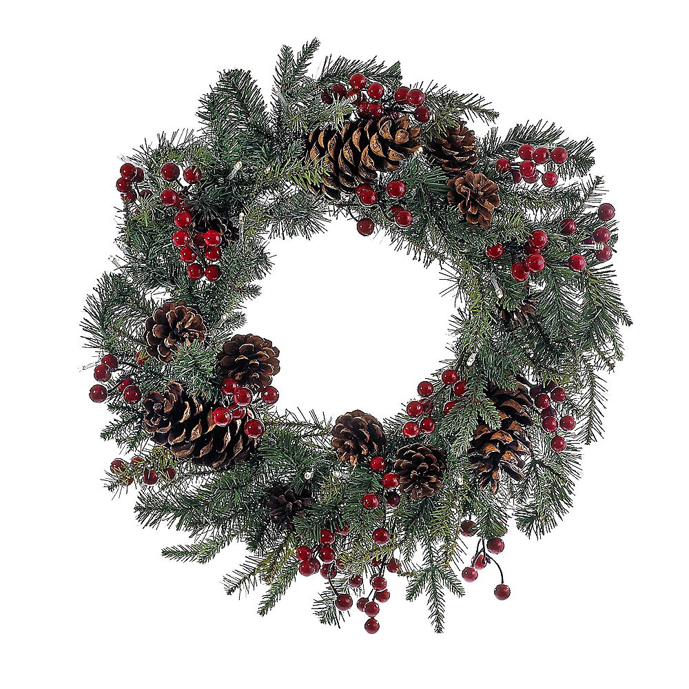 Kurt Adler Red Berry Pinecone LED Wreath Image #1