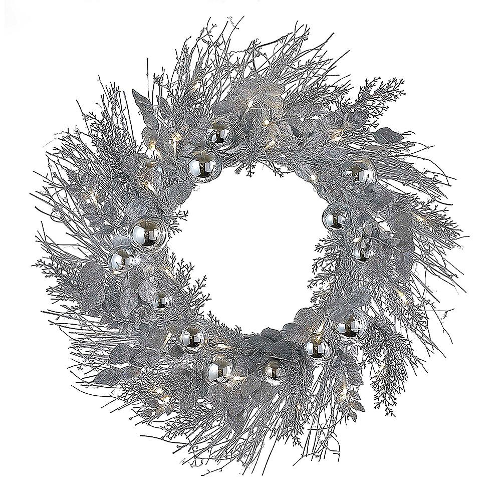 Kurt Adler Silver Twig LED Wreath Image #1