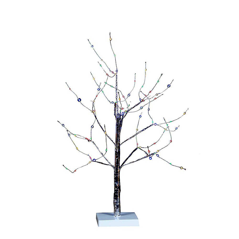 Nav Item for Kurt Adler Light-Up Small Multicolor LED Fairy Light Silver Birch Bark Christmas Tree Image #1
