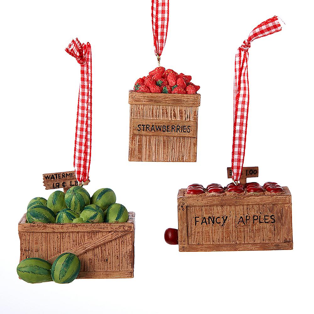 Kurt Adler Resin Fruit Crate Ornaments 3ct Image #1