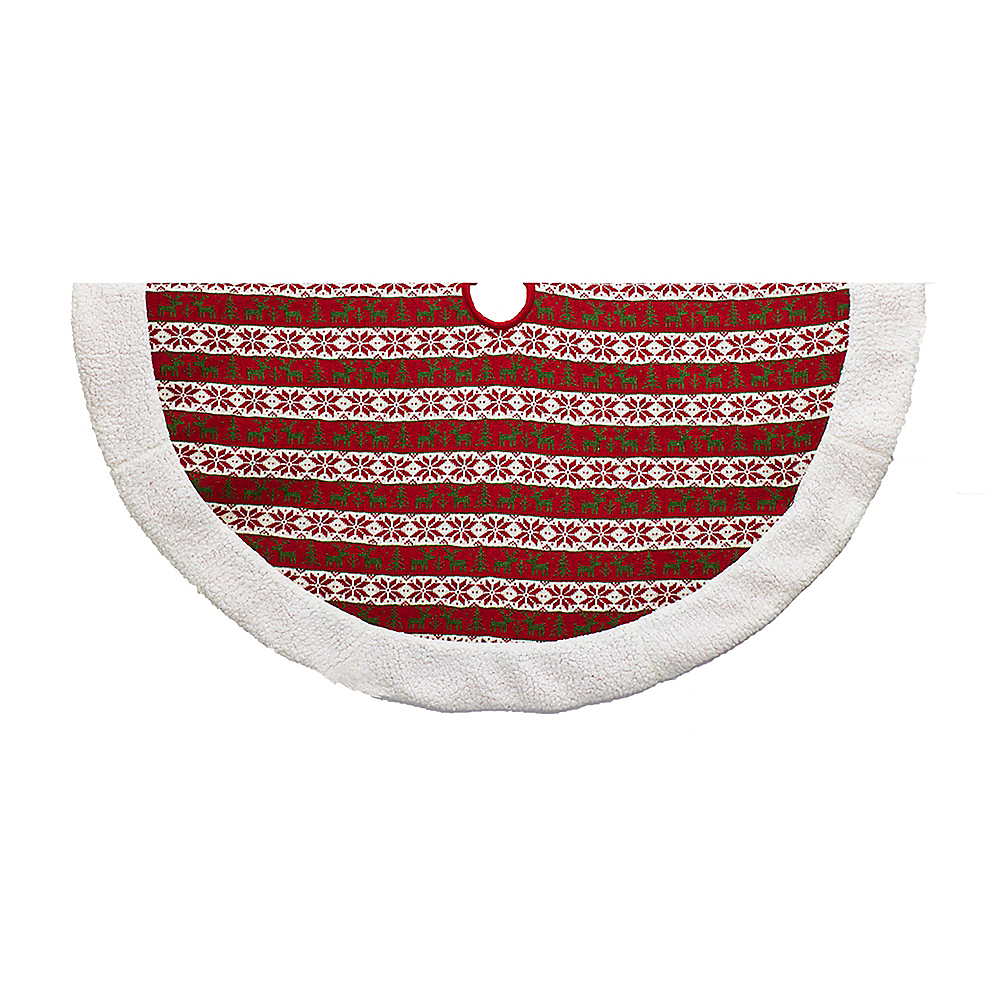 Kurt Adler Knit Pattern Red, White& Green Tree Skirt Image #1