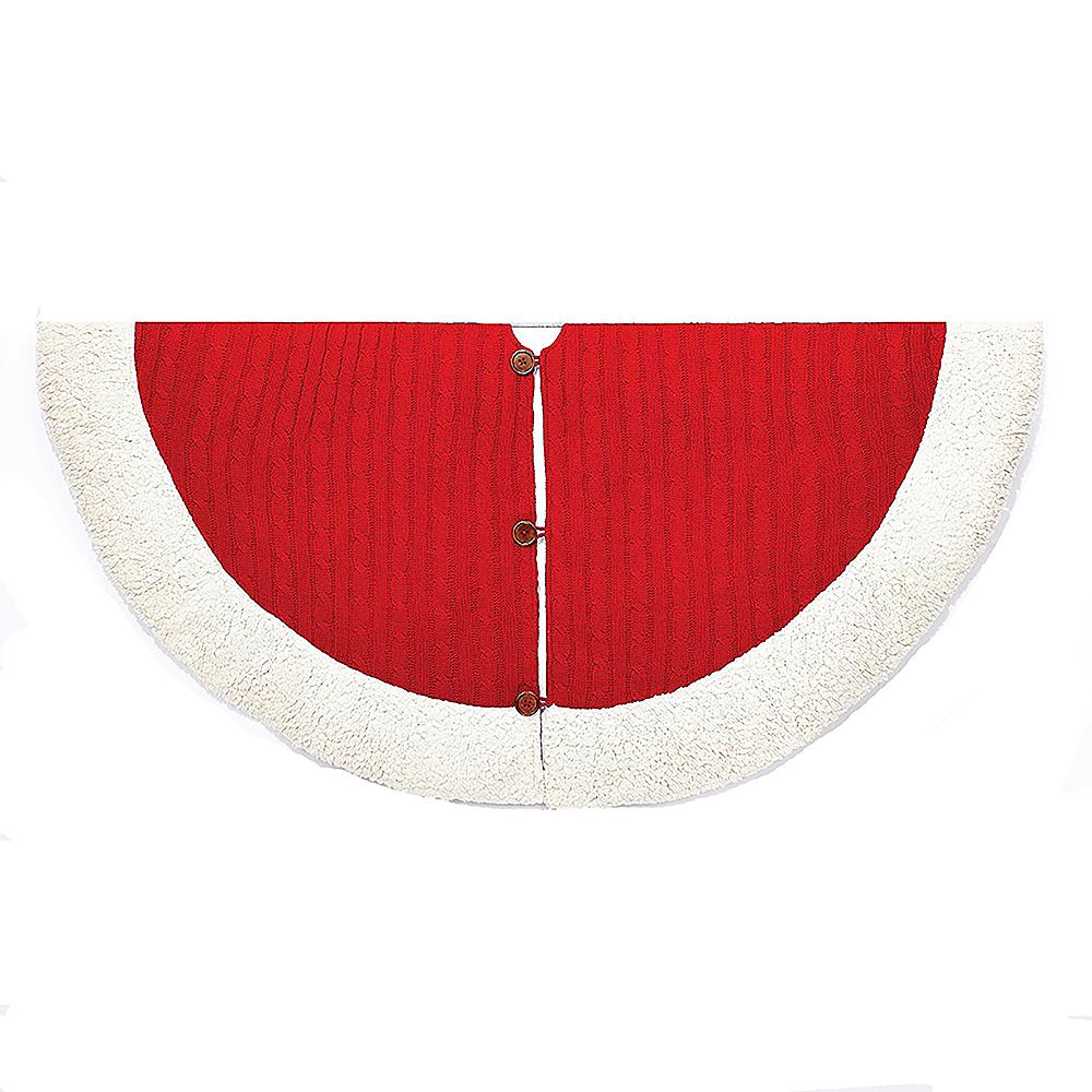 Kurt Adler Red & White Cable Knit Treeskirt Image #1