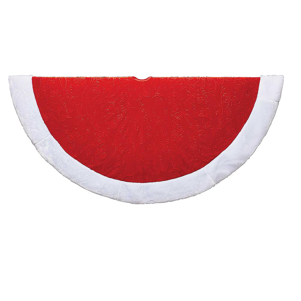 Kurt Adler Red & White Etched Velvet Treeskirt Image #1