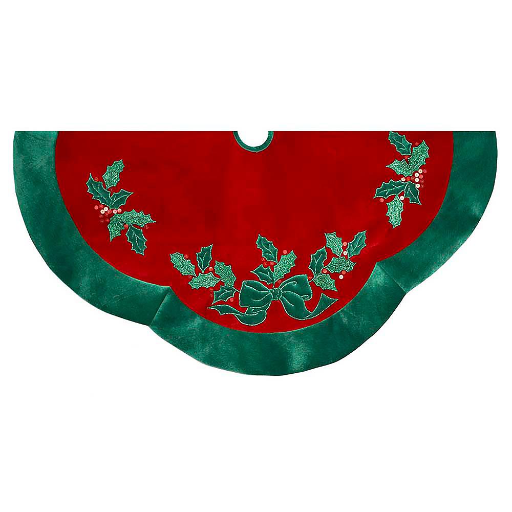 Kurt Adler Velvet Red with Green Leaves Applique Tree skirt Image #1