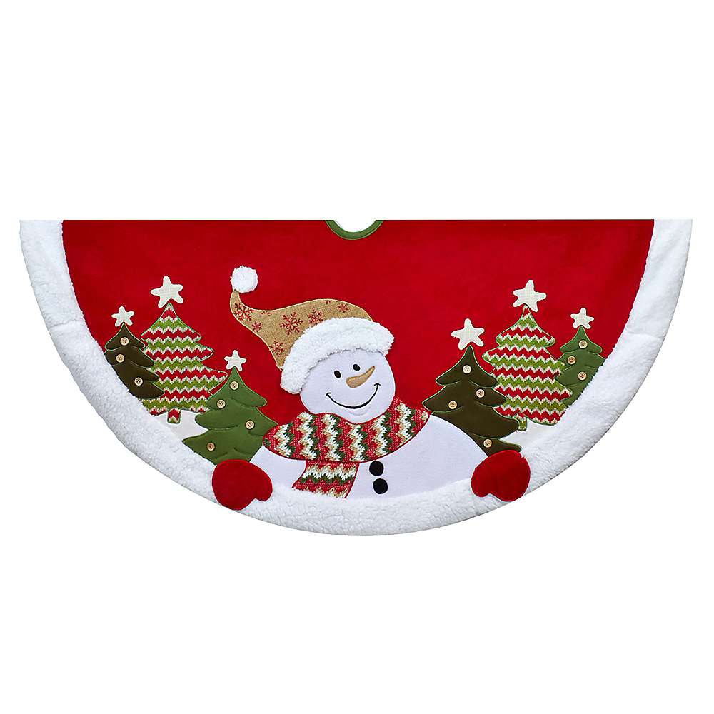 Nav Item for Kurt Adler Velvet Snowman Tree Skirt Image #1