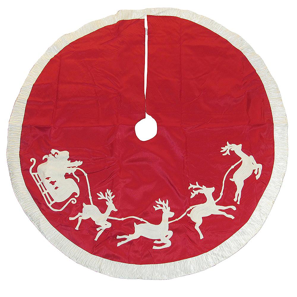 Kurt Adler Red & White Santa Sleigh Embroidered Treeskirt Image #1