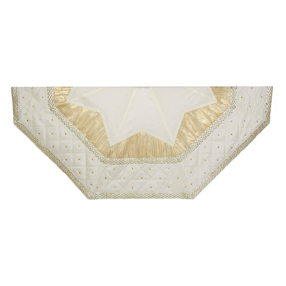 Kurt Adler Ivory Tree skirt with Quilted Border Image #1