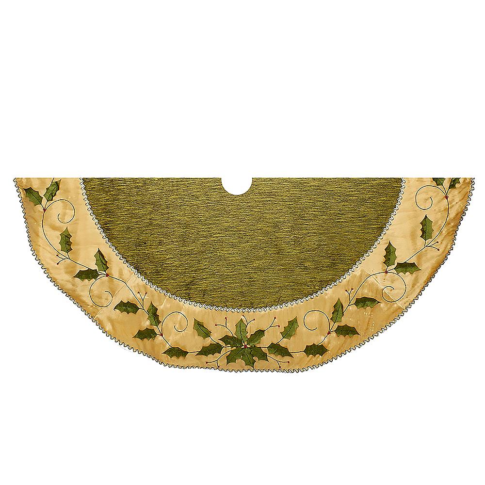 Kurt Adler Green & Gold Holly Leaves Embroidered Treeskirt Image #1