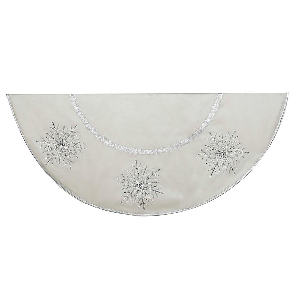 Kurt Adler Ivory Tree skirt with Crystal Lace Snowflakes Image #1