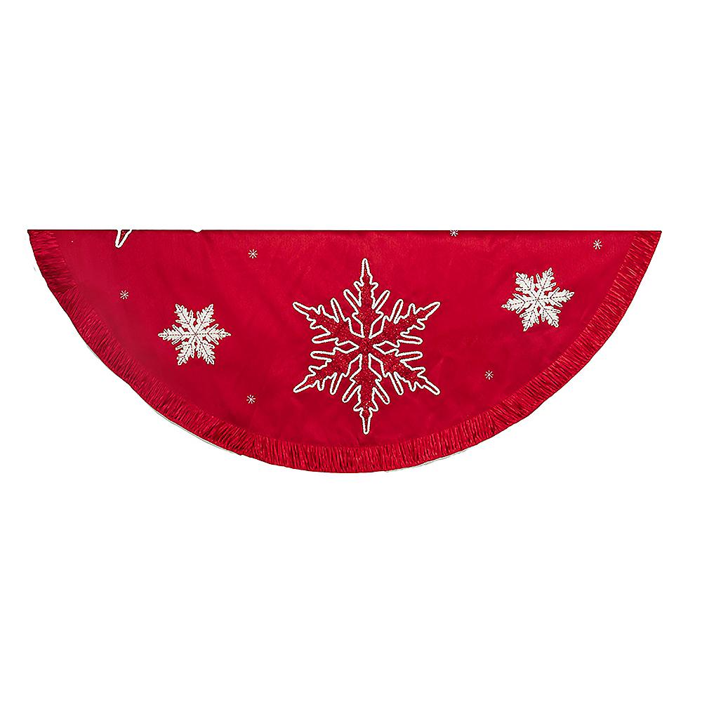 Kurt Adler Red Snowflake Embroidered & Pleated Tree skirt Image #1