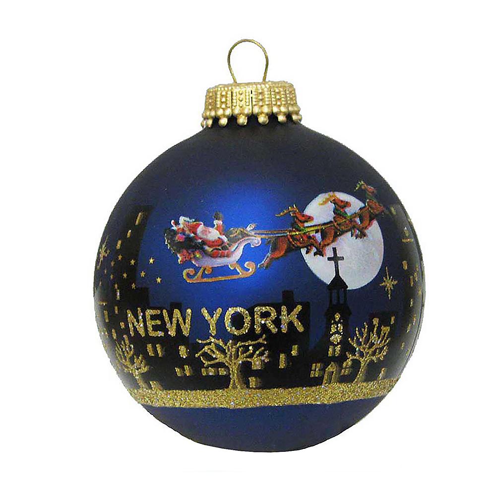 Kurt Adler NY Santa Skyline Hand Painted Glass Ball Ornament Image #1