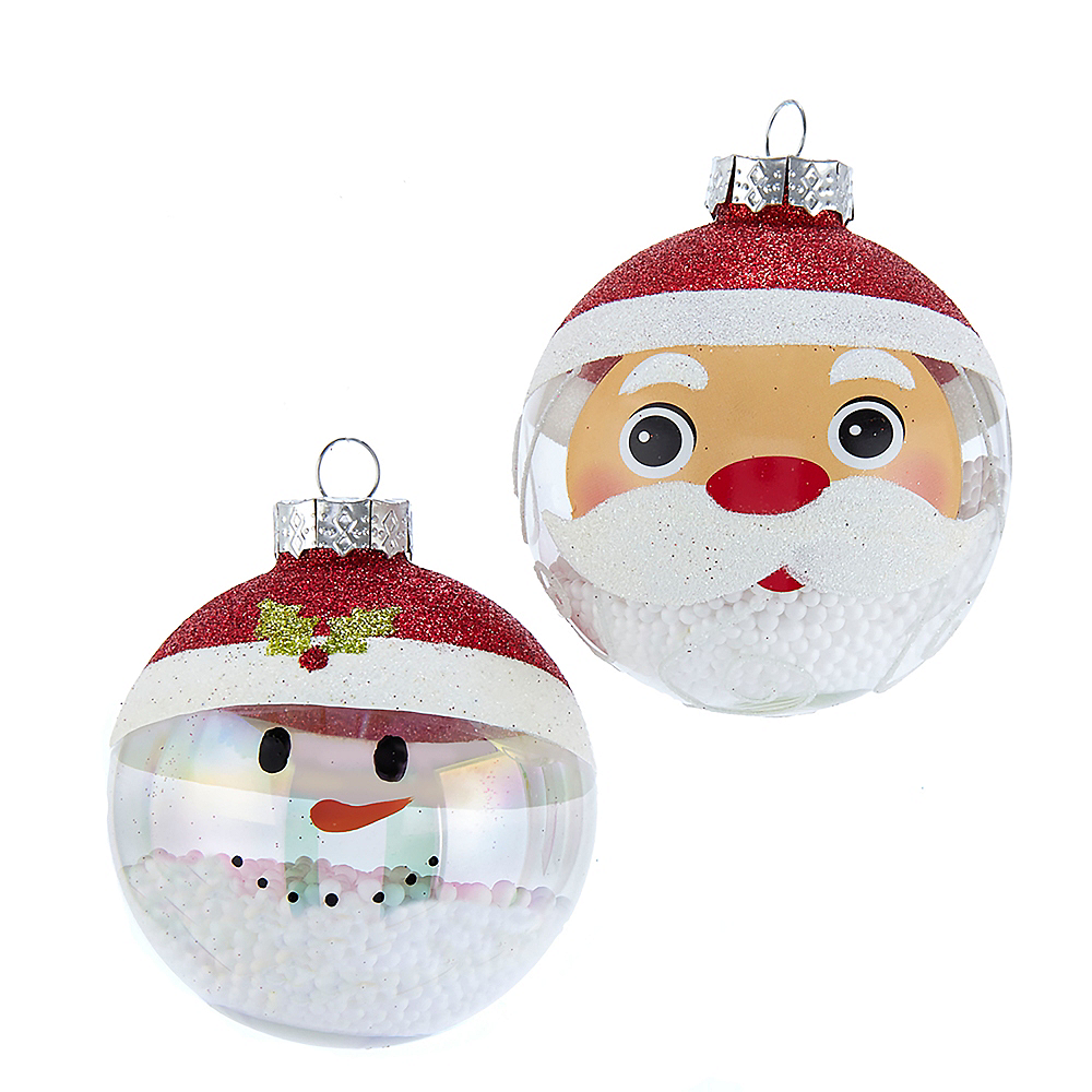 Kurt Adler Clear & White Santa & Snowman Glass Ball Ornaments 6ct Image #1